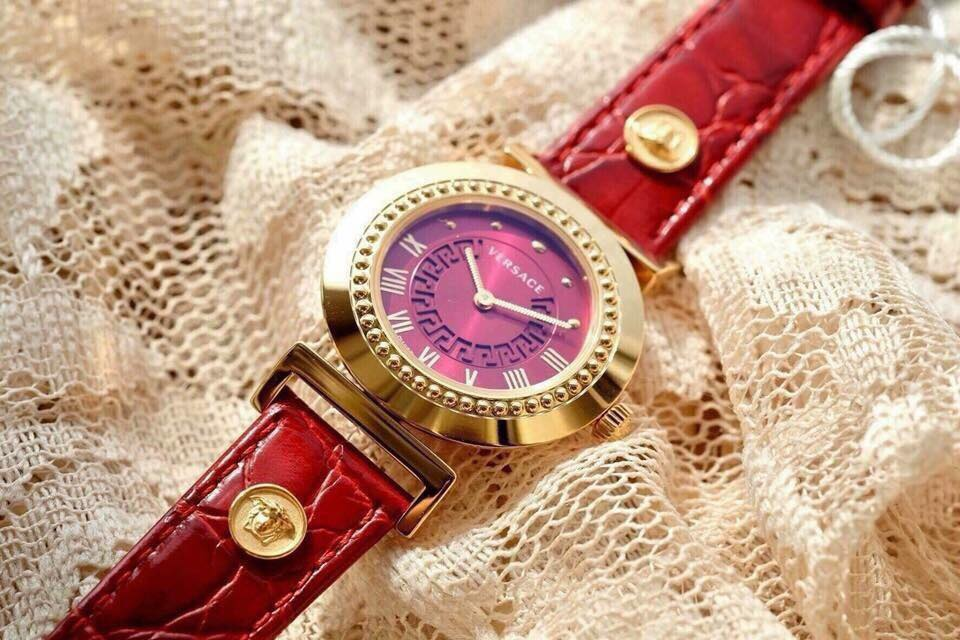 VANITY ROSE GOLD ION-PLATED STAINLESS STEEL WATCH WITH RED LEATHER BAND P5Q80D800 S800, 35MM